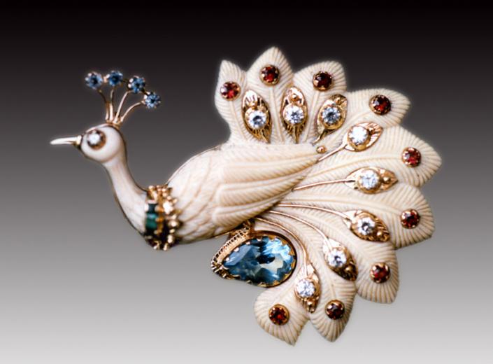 Ювелирные броши ручной работы из серебра и золота